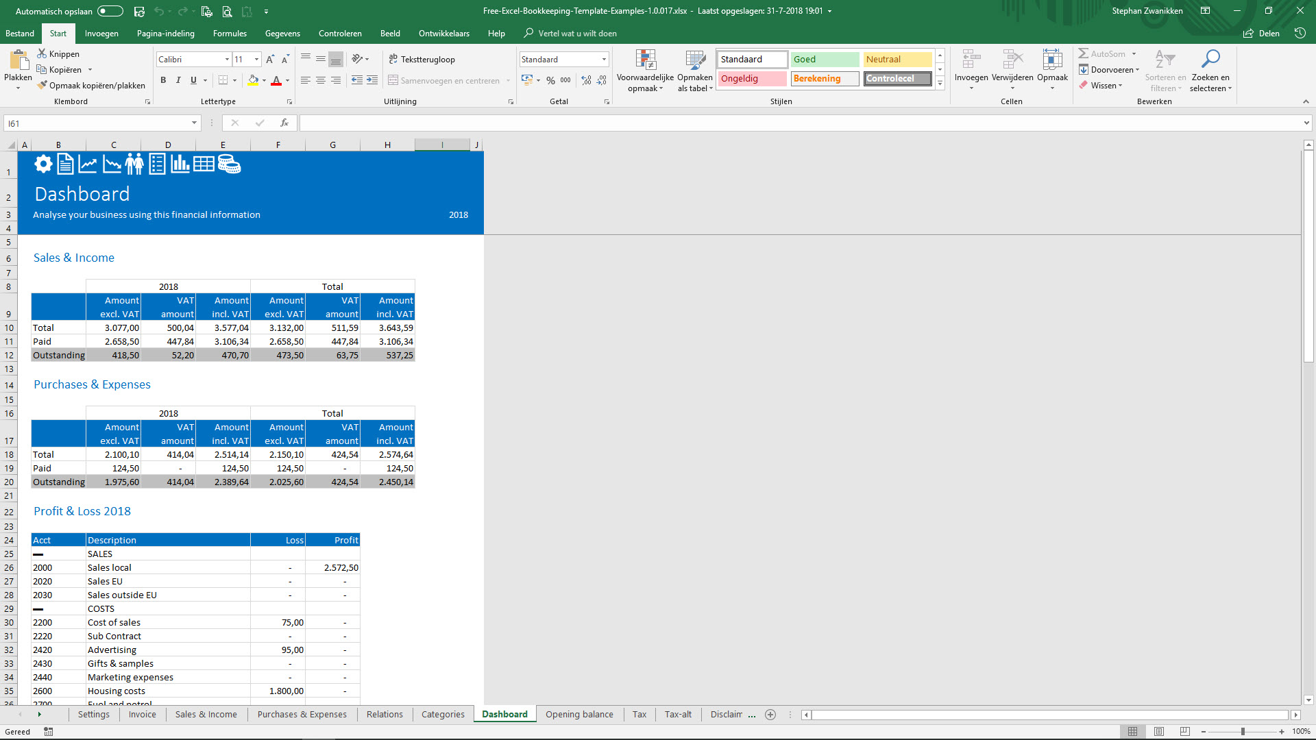 Free Bookkeeping Template View Dashboard