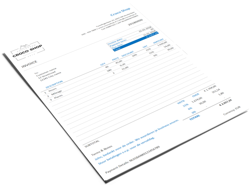 Excel bookkeeping template invoice