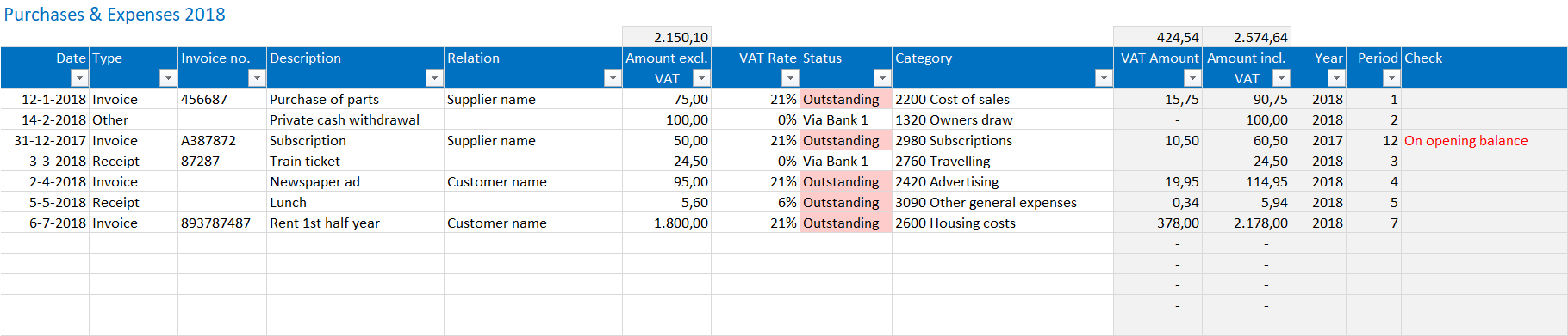 excel bookkeeping template purchases and expenses