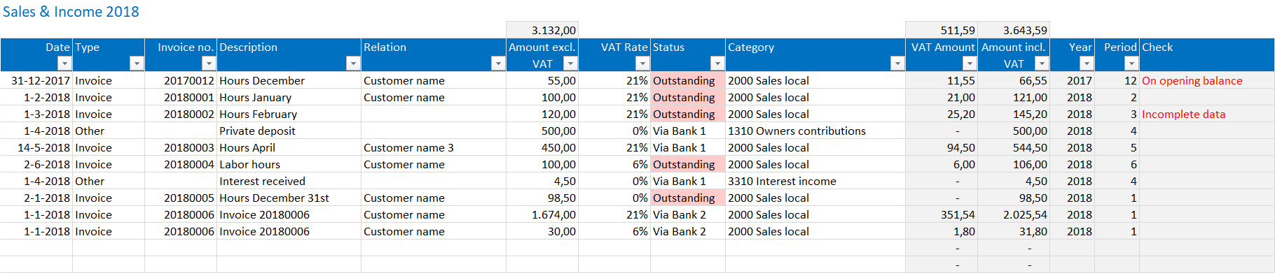excel bookkeeping template sales and income